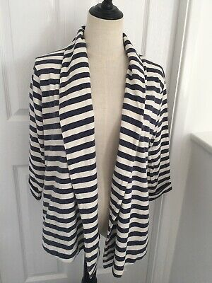 £17.99 • Buy Fat Face Jersey Nautical Blazer Size 14 Blue And White Stripes Read Des