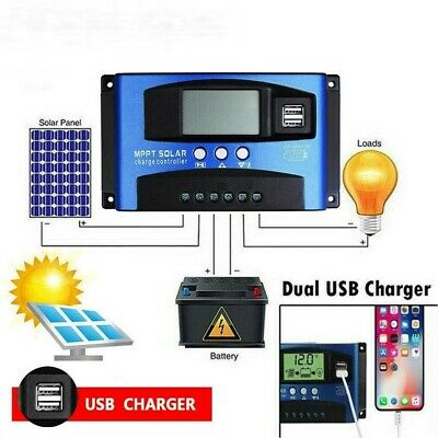 £29.99 • Buy 12V 24V 100A MPPT Solar Charge Controller Battery Compact Dual USB Auto Focus UK