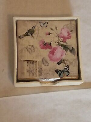 £7.99 • Buy Set Of 4  Ceramic Coasters Flowers Birds Butterflies With Holder