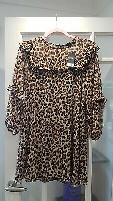 £0.99 • Buy George Leopard Print Floaty Ruffle Long Sleeve Dress Size 10 Brand New With Tags