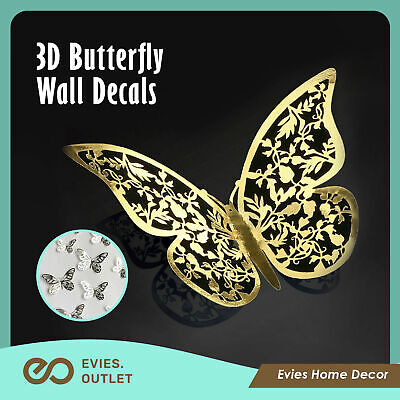 AU4.85 • Buy 12 X 3D Butterfly Wall Decals Stickers Removable Kids Nursery Decoration Art AU