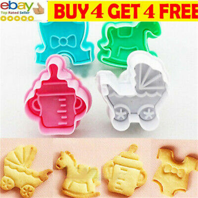 £4.89 • Buy 4Pcs 3D Baby Cookie Biscuit Plunger Cutter Mould Fondant Cake Mold Baking Setaa