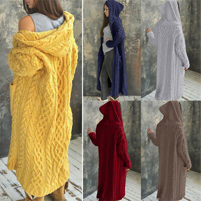 £24.99 • Buy Womens Winter Outwear Chunky Cable Knit Hooded Cardigan Jumper Sweater Long Coat