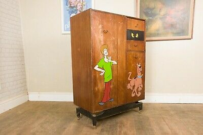 £250 • Buy Vintage Retro Upcycled Hand Painted G Plan Scooby Doo Tall Boy Wardrobe