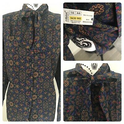 £14.99 • Buy Vintage St Michael Silky Pussy Bow Blouse Size 16 Paisley Navy & Gold M&S