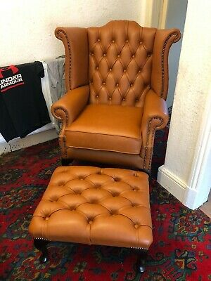 £699 • Buy Tan Leather Chesterfield Queen Anne High Back Wing Back Chair And Stool CAN DELI