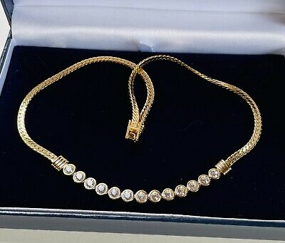 £21 • Buy Vintage Jewellery Signed Swarovski Clear Crystal Gold Plated Necklace