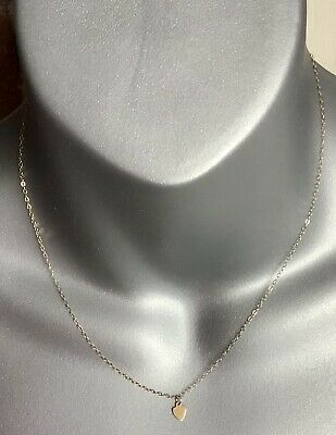 £32.95 • Buy Beautiful Vintage Fine 375 9ct Gold Heart Pendant Necklace 16 Inch Chain
