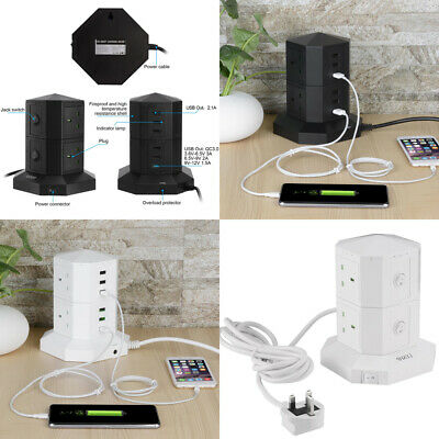 £14.59 • Buy UK Extension Lead Cable Surge Protected Tower Power Socket With 4 Way 6 USB Port