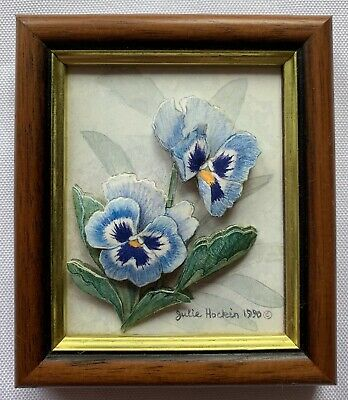 £10 • Buy Julie Hockin Miniature Framed Flower 3D Decoupage Picture Cornwall Collectable