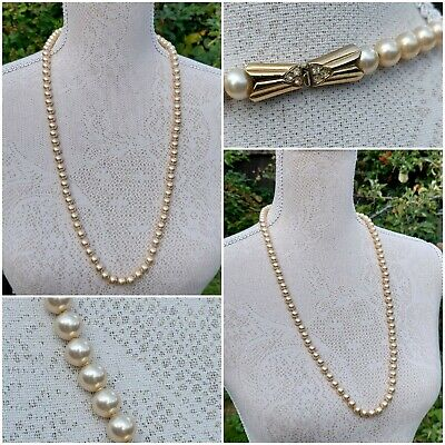 £10.99 • Buy 30  76cms Cream Glass Faux Pearl String Statement Necklace Costume Jewellery Vgc