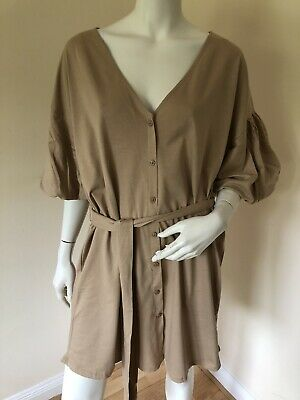 £3 • Buy ASOS Design V Neck Button Front Puff Sleeve Dress Size 14