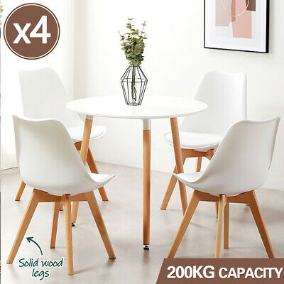 AU125 • Buy 4x Dining Chairs Kitchen Table Chair Lounge Room Retro Padded Seat White PU Pad