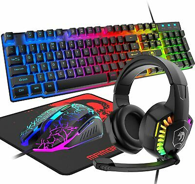 AU49.89 • Buy Wired Gaming Keyboard Mouse Headset And Pad Set RGB Bcklit For PC Xbox PS4 Gamer