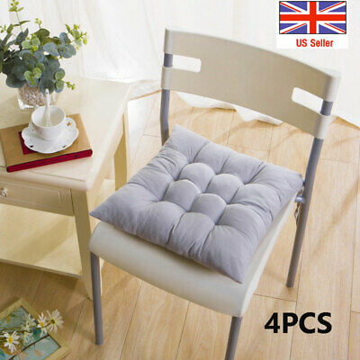 £13.99 • Buy 4x Seat Pad Dining Room Garden Kitchen Chair Seat Cushions Tie On Plain