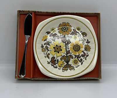 £9.99 • Buy Vintage MCM Palissy Royal Worcester 'Tiffany' Roll Plate & Butter Knife Boxed