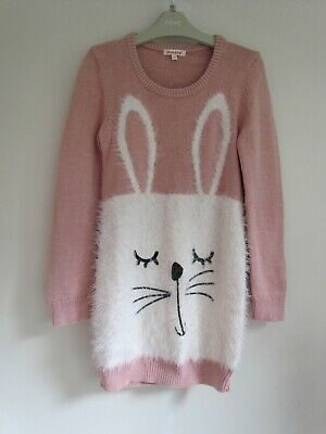 £4.99 • Buy BLUE ZOO Girls Pink Sparkle Bunny Jumper Dress NEW Age 9-10  O179 P