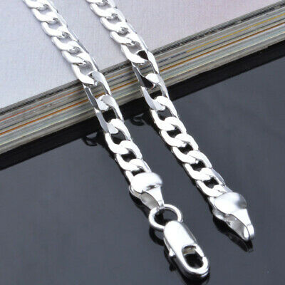 £4.30 • Buy 20''  Mens Boys Curb Chain Stainless Steel Silver Cuban Necklace Men Gift
