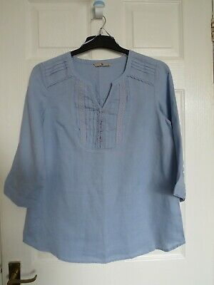 £3.99 • Buy TU Size 10 Blue With Pin Tucks & Embroidered Trim Linen Boho Peasant Style Top