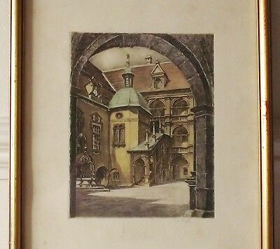 £12.50 • Buy Framed Picture Print On Paper Baroque Courtyard Architecture Austria Signed