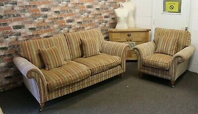 £1499 • Buy Parker Knoll Burghley L2 Seater Sofa & Chair In Baslow Stripe Gold Fabric
