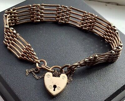 £49.95 • Buy VINTAGE 16ct Rolled Gold 5 Bar Gate Bracelet With Heart Padlock Safety Chain 21g
