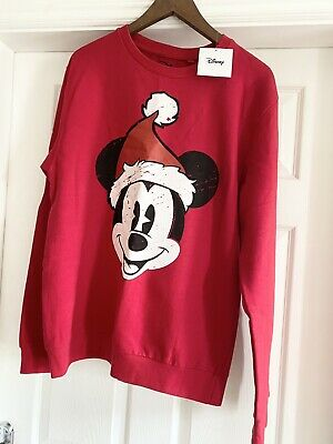 £19.99 • Buy Disney Mickey Mouse Christmas Jumper Sweatshirt NEW With Tags Large/12 🎄Red
