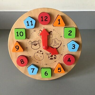 £5.95 • Buy ⏰Child's Wooden Teach Time Clock Children's Learning Numbers Puzzle Teaching Toy