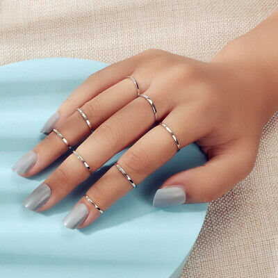 AU1 • Buy 8pcs Gold Silver Simple Finger Knuckle Stack Rings Set Punk AU Stock Jewellery