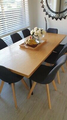 AU1500 • Buy Wood Dining Table With 8 Chairs Scandinavian Style
