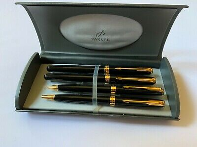 £20.01 • Buy Parker Sonnet Pen Set - Black Lacquer With Gold Trim Hardly Used