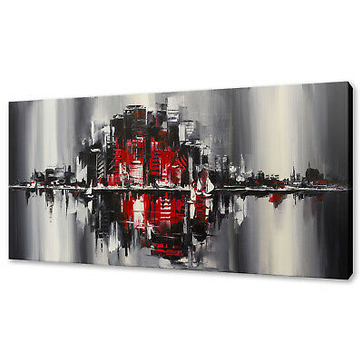 £22.99 • Buy Red Black Urban City Abstract Design Box Canvas Print Wall Art Picture