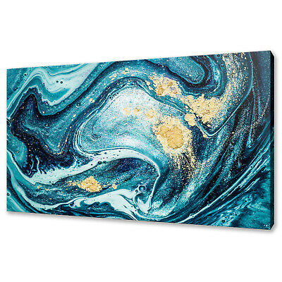 £19.99 • Buy Abstract Ocean Swirls Blue Paint Gold Powder Box Canvas Print Wall Art Picture