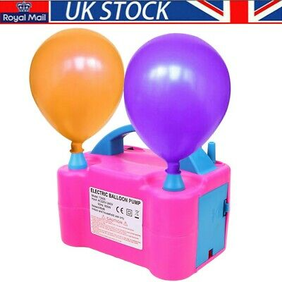 £16.45 • Buy Portable Electric Balloon Pump Party Inflator Air Blower Dual Nozzles UK Plug