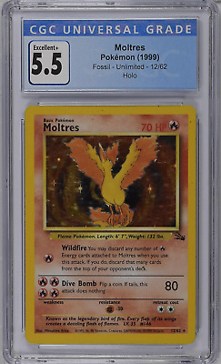 $12.50 • Buy Moltres Pokemon 1999 Fossil Unlimited Holo CGC 5.5