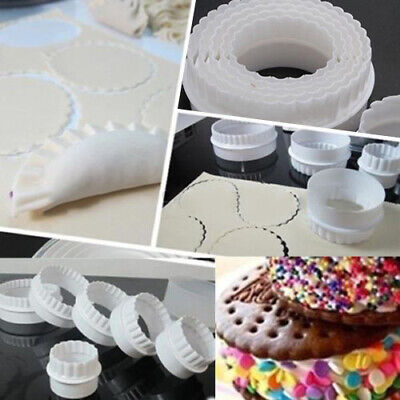 £3.08 • Buy 6Pcs/Set Round Durable Scalloped Fluted Cookie Pastry Biscuit Cutter Cake Decor