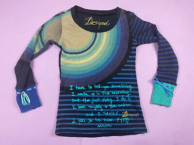 £7.90 • Buy A Y2K 00s Desigual Abstract Motif Pattern Design Blue Text Knit Jumper Top