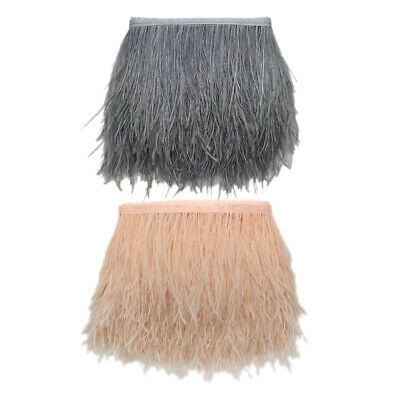 £10.41 • Buy 1 Yard Ostrich Feather Fringe Trim For Dress Skirt Gray & Champagne