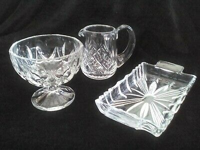 £15 • Buy Sugar Bowl, Milk Jug And Butter Dish Combo In Clear Crystal Glass, 1950s Vintage