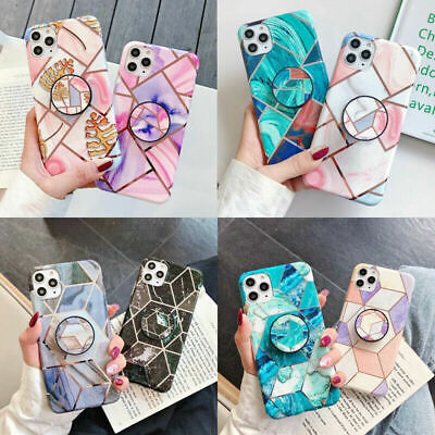 AU16.49 • Buy For IPhone 12 13 Pro Max X 7 8 Plus Plating Marble Phone Case Stand Holder Cover