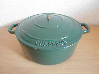 £4.99 • Buy Green Chasseur Cast Iron Casserole Dish Pot Pan With Lid 22cm - Missing Handle