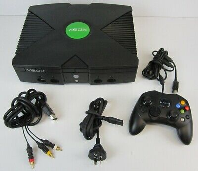 AU10.50 • Buy Microsoft Xbox Original Black Console With Halo Controller & Cables