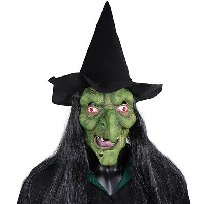 £12.99 • Buy Old Witch Mask Cosplay Scary Clown Hag Latex Costume Halloween Party Props + Hat