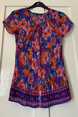 £7.99 • Buy BM Casual Purple Pink Bright Floral Floaty Pleated Square Button Blouse Size 14