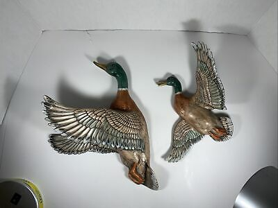 £32.67 • Buy Vintage 2 Flying Ducks Wall Hanging Plaques Handmade, Hand Painted,Beautiful!