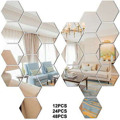 £16.99 • Buy 48Pcs 3D Mirror Tiles Mosaic Wall Stickers Self Adhesive Bedroom Art Decal Home