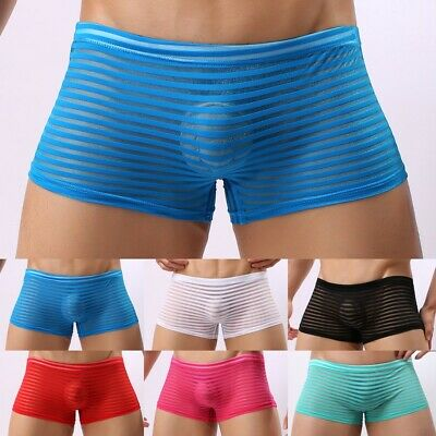 £5.95 • Buy Mens Sexy Trunks Mesh See-through Boxers Briefs Underwear Lingerie Shorts
