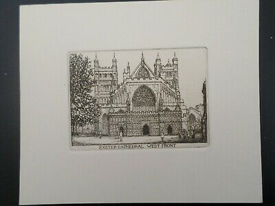 £4.99 • Buy EXETER CATHEDRAL, WEST FRONT  Original 1931 Etching By Leonard Russell Conway