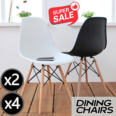 AU49.99 • Buy 2/4x Dining Chairs Kitchen Table Chair Lounge Room Retro Plastic Wood Retro Seat