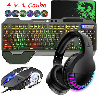 AU69.89 • Buy Gaming Keyboard Mouse And Bluetooth Headset Set RGB LED Backlit For PC PS4 MAC